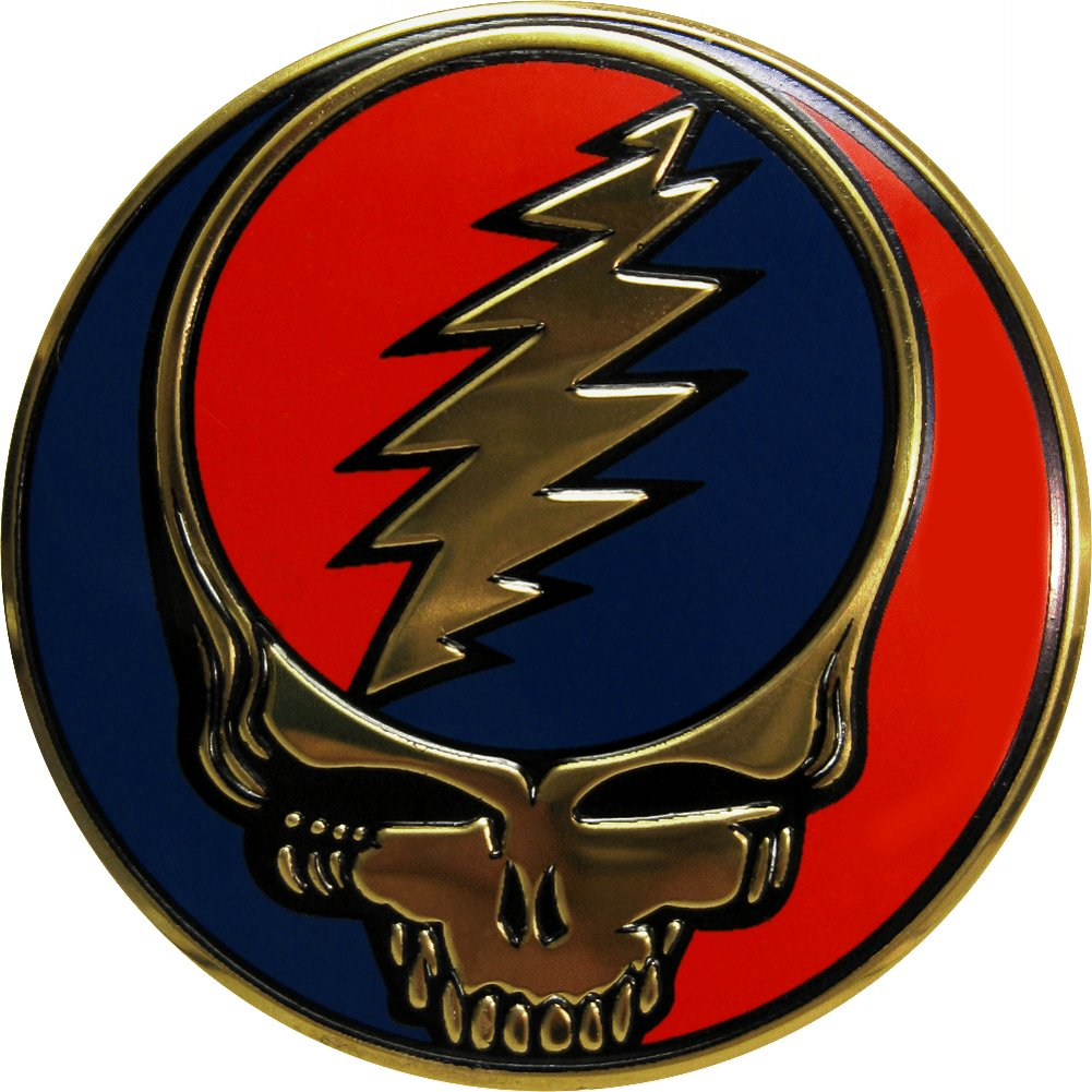 Grateful Dead 2 Round Metal Steal Your Face Emblem with Adhesive Backing