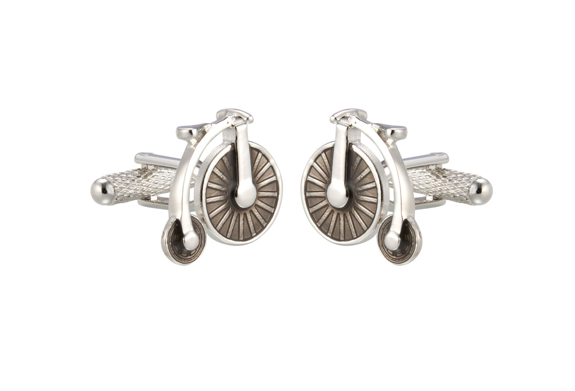 KNIGHTHOOD Men's Stainless Steel Vintage Bicycle Cufflinks Silver