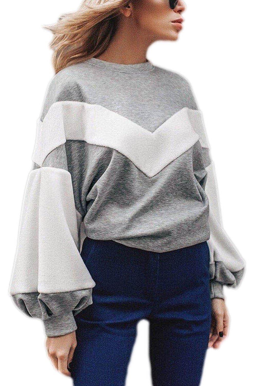 add11a9f16 well-wreapped YACUN Mujeres Camiseta De Manga Larga Casual Tops Blusas  Patchwork