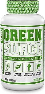 Green Surge Green Superfood Capsules - Keto Friendly Greens Supplement w/Spirulina, Wheat & Barley Grass - Organic Greens Plus Probiotics & Digestive Enzymes - 120 Veggie Pills