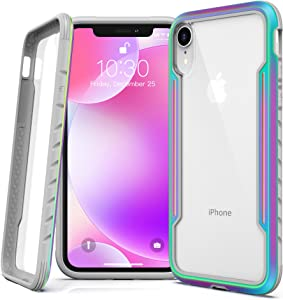 Lonlif for iPhone XR Case Protective Case, Military Grade Drop Tested, Clear PC Panel+TPU Frame, Multi-Layer Shockproof Fully Protection for iPhone XR 6.1 inch, Iridescent/Rainbow+Clear