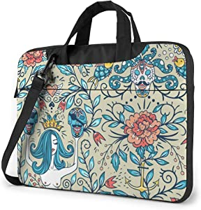 Beautiful Mermaids and Pirate Skulls Laptop Case 13 Inch Carrying Case with Strap