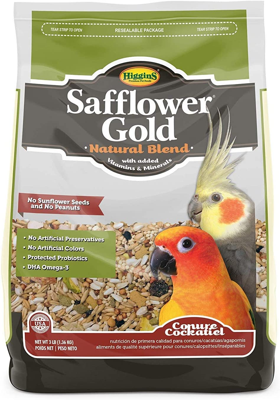 Higgins Safflower Gold Natural Food Mix for Conures & Cockatiels