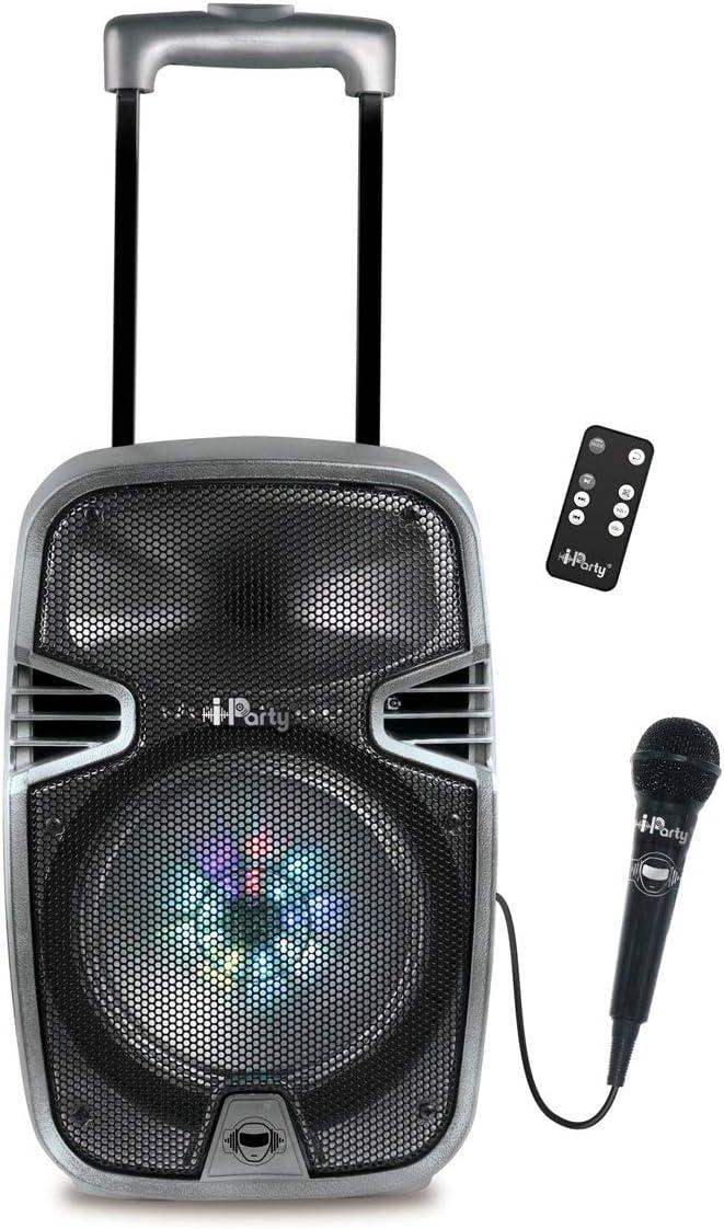 Lexibook Iparty - Altavoz Luminoso Bluetooth con Asa y Ruedas, Micrófono, Puertos USB, SD, TF, MMC y Aux-In, Entrada Instrumento, Mando a Distancia, Batería Recargable (Lexibook K8250), Gris