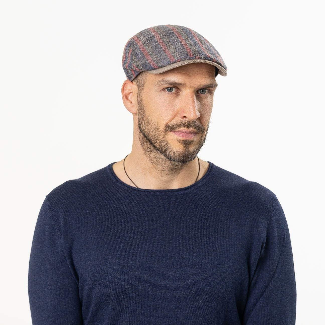 Lierys Coppola in Lino e Cotone Stripes Uomo Made Italy Cappello Piatto Berretto Cotton cap con Visiera Fodera Primavera//Estate Fodera