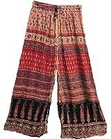 Womens Indian Ethnic Palazzo Gaucho Bohemian Gypsy Pants (Red Tones)