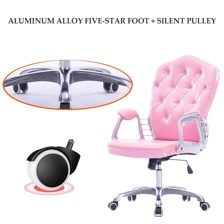 Hem kontorsstol PU-läder hög rygg ergonomisk justerbar svängbar dator skrivbord uppgift stol med fotstöd och ländrygg stöd Rosa