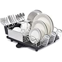 KK KINGRACK Dish Drainer, Stainless Steel Dish Rack, Dish Drying Rack with Anti-Rust Frame, Optional 2 Direction Spout…