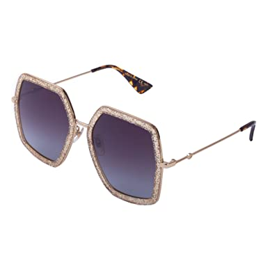 8a551cdbcab Image Unavailable. Image not available for. Color  Gucci Women s Butterfly  Gold Glitter Sunglasses Gold