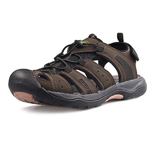 GRITION Mens Hiking Sandals Closed Toe Hook and Loop Mesh   PU Upper  Adjustable Heel Strap for Sports and Outdoors Sandals Trekking 56eaa6d2e72b