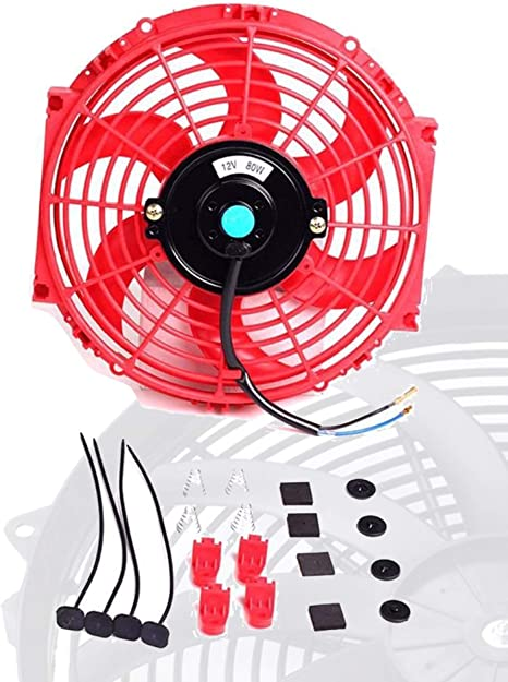 Upgr8 Universal High Performance 12V Slim Electric Cooling Radiator Fan with Fan Mounting Kit 10 Inch, Blue
