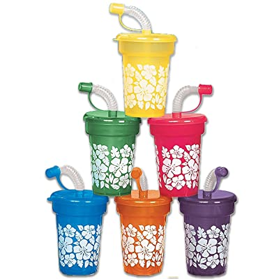 HIBISCUS PRINT MINI SIPPER CUPS - Party Supplies - 12 Pieces: Toys & Games
