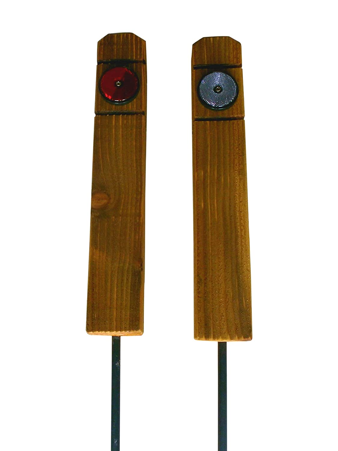 2 x 18 inch (45cm) Timber Twin Reflective Keep Off Grass Verge Posts Boundary Markers, Push in Ground Reflective Both Sides