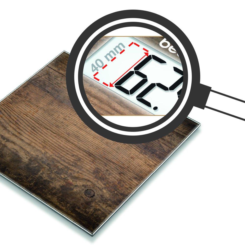 Beurer GS 203 - Madera - Báscula de baño de vidrio, ultra plana, efecto madera: Amazon.es: Salud y cuidado personal