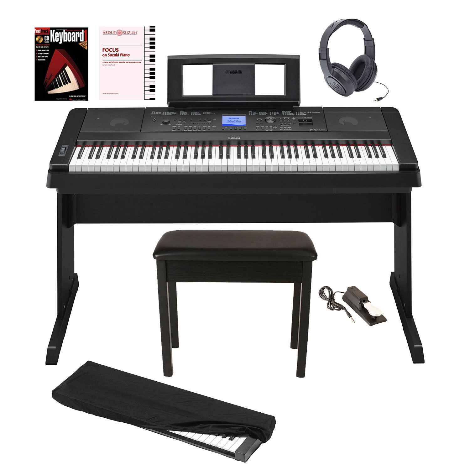 Yamaha DGX-660 88 Weighted Keys Digital Piano Bundle with Knox Bench, Dust Cover,Headphones, Sustain Pedal, Piano (Book/CD) & DVD
