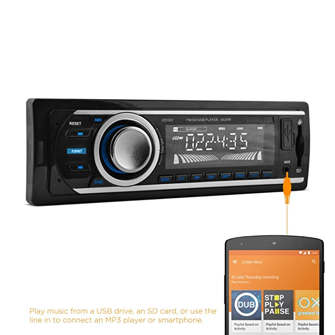 XO Vision FM and MP3 Car Stereo Receiver with USB Port and SD Card on