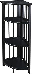 Casual Home 4-Shelf Corner Folding Bookcase, Black (New)