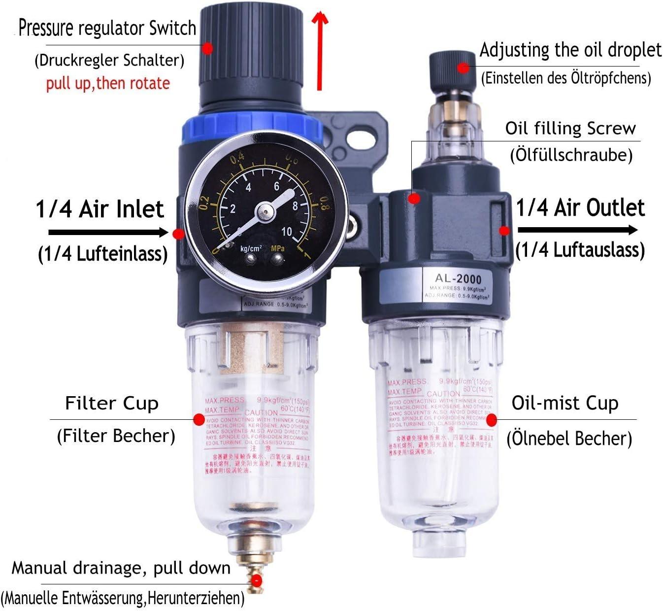 1//4in Mini r/égulateur de pression dentr/ée dair en ligne eau huile pi/ège filtre s/éparateur pistolet de pulv/érisation outil compresseur dair accessoires