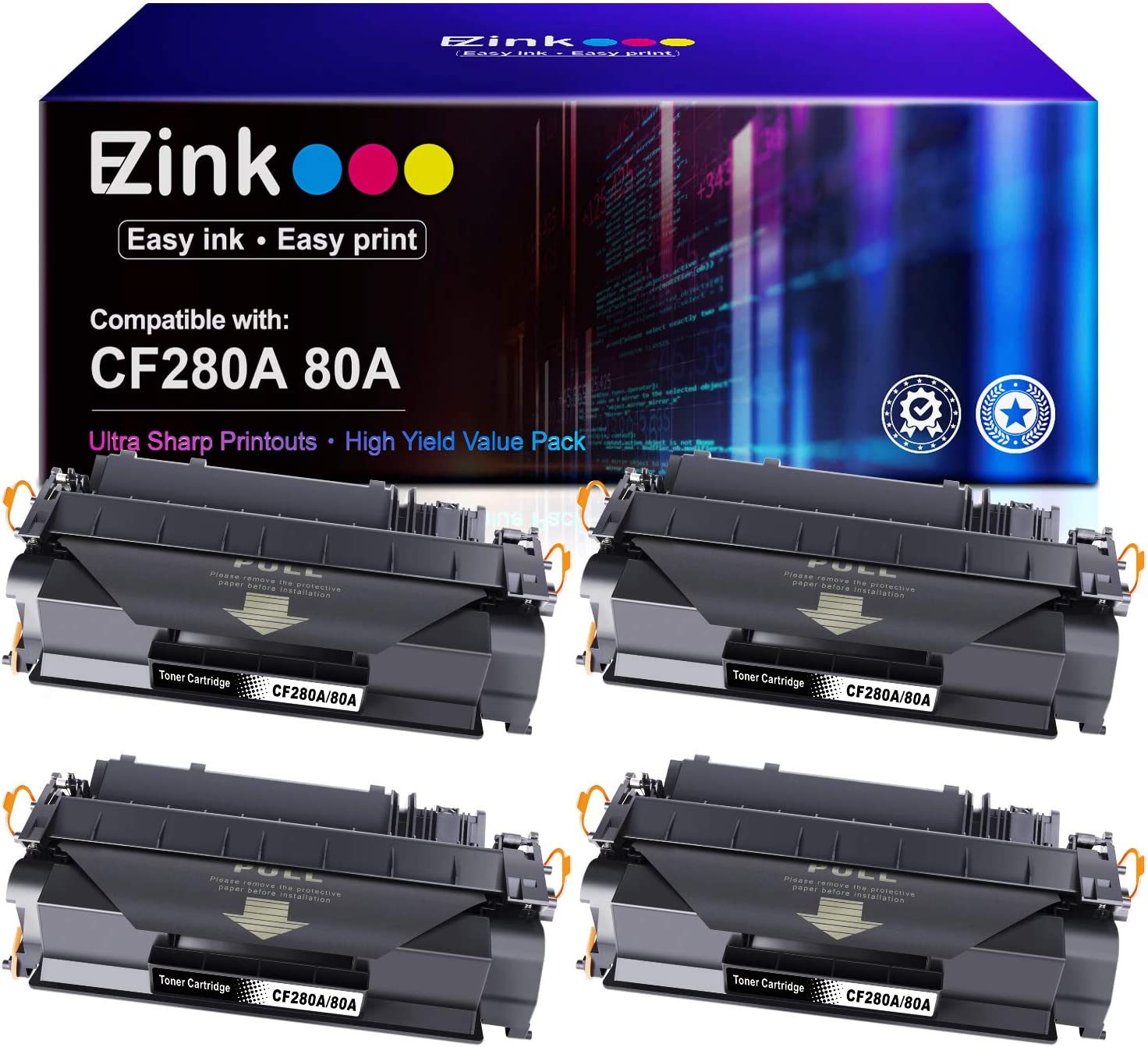 E-Z Ink (TM) Compatible Toner Cartridge Replacement for HP 80A CF280A 80X CF280X 05A CE505A to use with HP Laserjet M401n M401dne M425dn M401dw M401dn P2035 P2055dn (Black, 4-Pack)