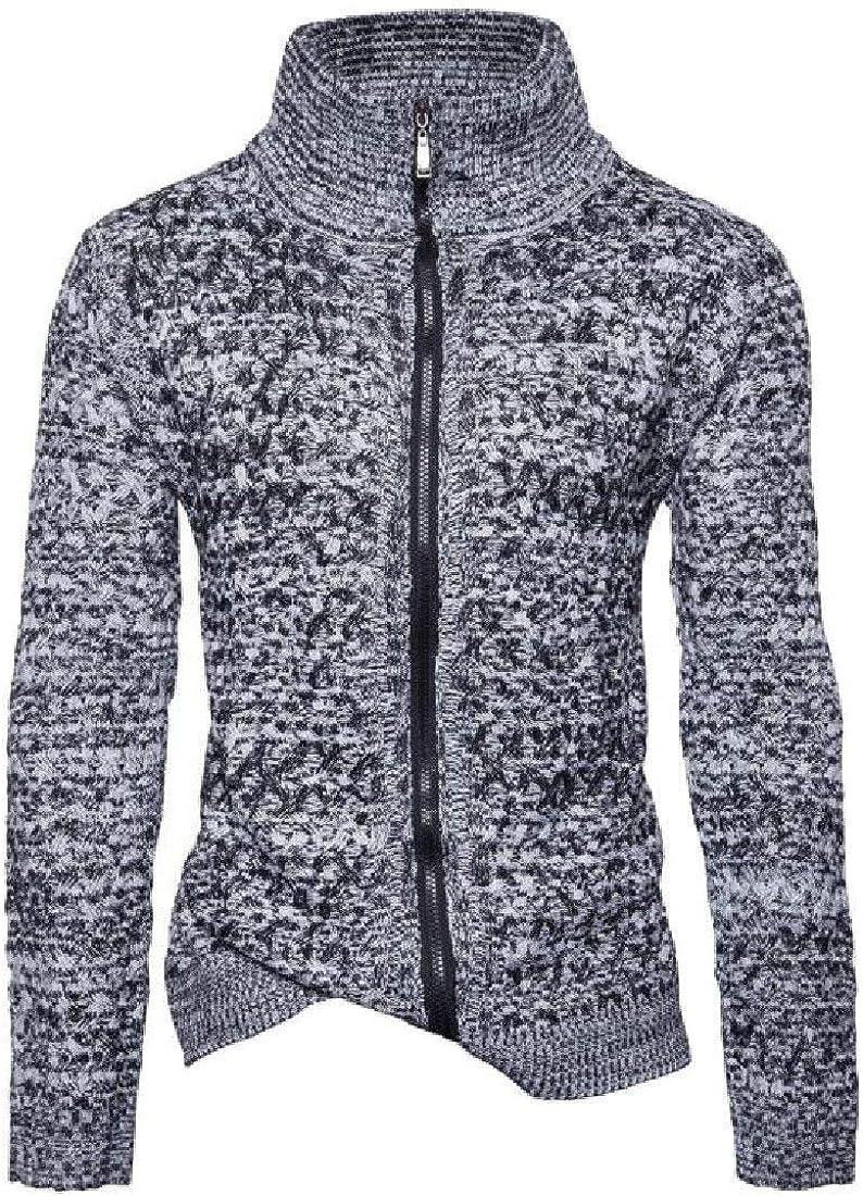 Miaohao Womens High Neck Zipper Slim Knit Spell Color Outwear Sweater
