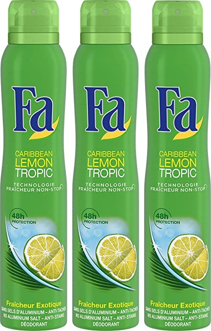 Fa Déodorant Lemon Tropic Atomiseur 200 ml Lot de 3