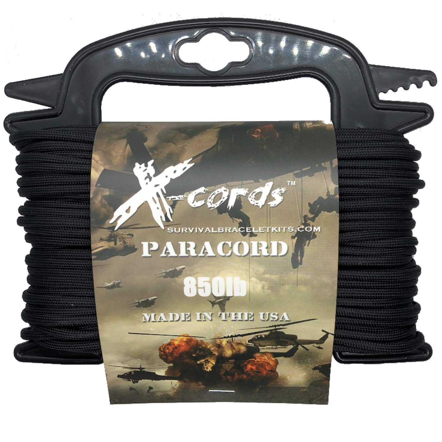 X-CORDS Paracord 850 Lb Stronger Than 550 and 750 Made by Us Government Certified Contractor (100' Black ON Spool)
