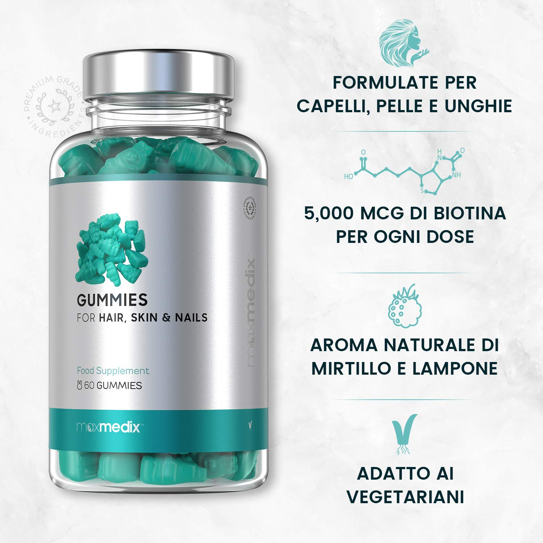 Gominolas De Biotina 5000 mcg Para El Crecimiento del Pelo Maxmedix - Para Cabello, Piel y Uñas - Suplemento Vitamínico y Anticaída Con Vitaminas y ...