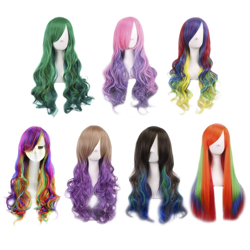 TrifyCore Womens Harajuku Ombre Highlights Gradient Multicolor Natural Wave Long wigs Synthetic Halloween Anime Cosplay Party GREEN