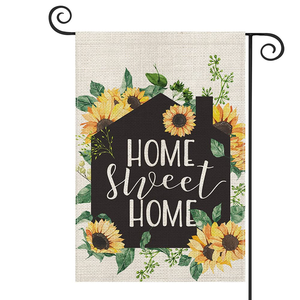 AVOIN colorlife Summer Home Sweet Home House Sun Flower Garden Flag Vertical Double Sized, Holiday Party Flag Yard Outdoor Decoration 12.5 x 18 Inch
