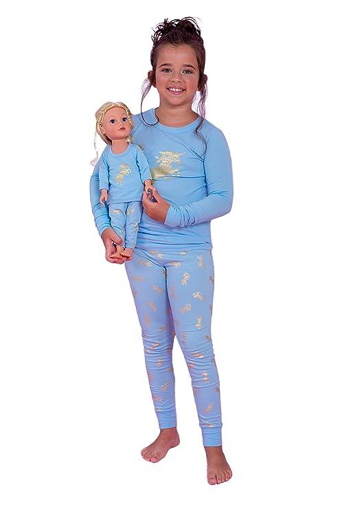 eaea0e32e1 Amazon.com  Girls and Dolls 4 Piece Matching Unicorn Pajama Sets (Matching  Doll Dress Fits American Girl Dolls   15-18 inches Dolls)  Clothing