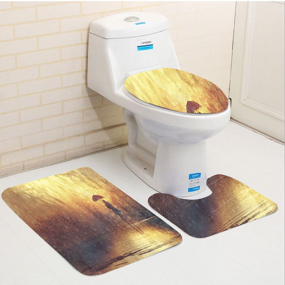 Keshia Dwete three-piece toilet seat pad customModern Silhouette of Lonely Woman under Rain with Umbrella Dramatic Paint Picture Light Caramel Yellow