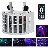 Lixada LED Proyector Luz Lámpara de Estapa Escenario de 6 Canales RGBW DMX 512 Control Automático de Voz 100-240V 24W