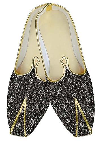 Mens Gray Polyester Wedding Shoes White Flower MJ10570
