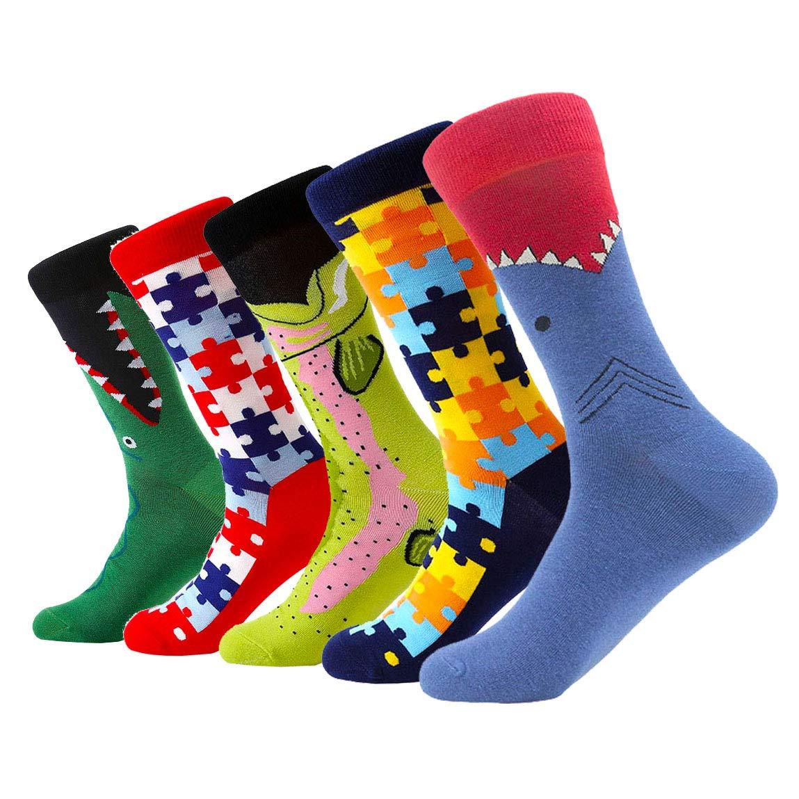 Mixsense Mens Fashion Dress Funny colorful Comfort Casual Cotton Crew Socks Pack