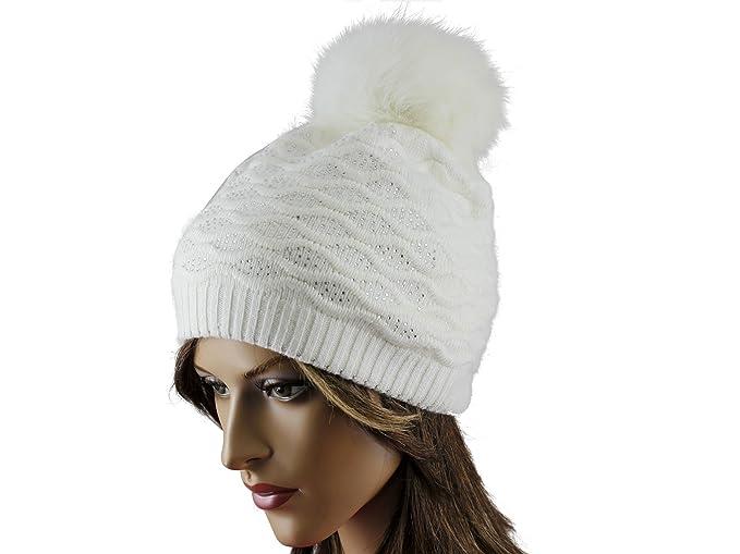 24d4f35a9 La-el Couture Women's Wool & Angora Fur Pom Winter Hat (ivory) at ...