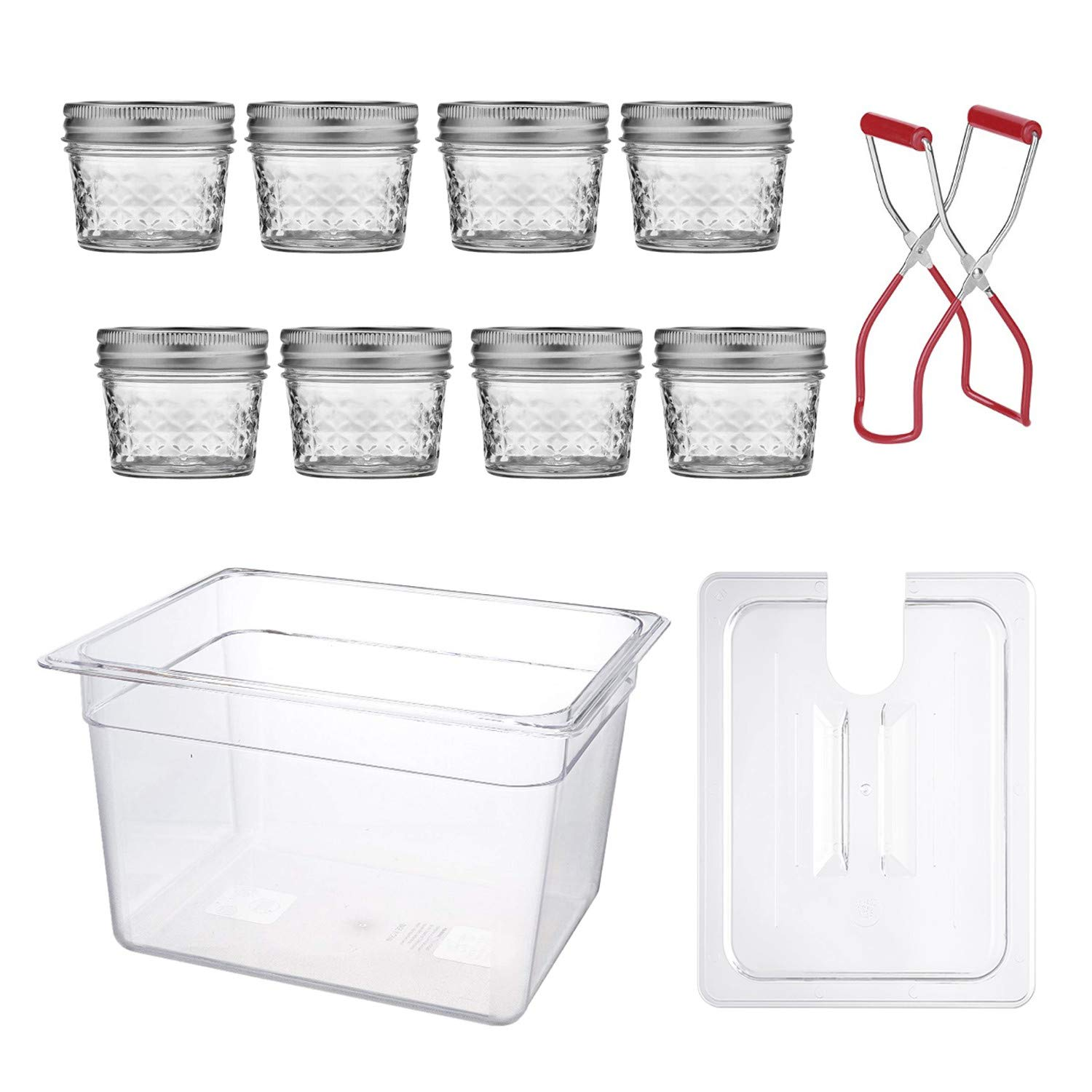 Sous Vide Egg Bites Mold Kit - 8 Sous Vide Jars (4 Oz, Glass), Sous Vide Container with Lid (12 Quart) and Jar Lifter for Sous Vide Mason jars | Lid Opening for Anova or Joule Precision Cookers