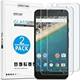 [2 Pack] Nexus 5X Screen protector, OMOTON® 0.26 mm 2.5D Tempered Glass Screen Protector for LG Google Nexus 5X (2015 Released) with [9H Hardness] [Crystal Clear] [Scratch Resist] [No-Bubble Install]
