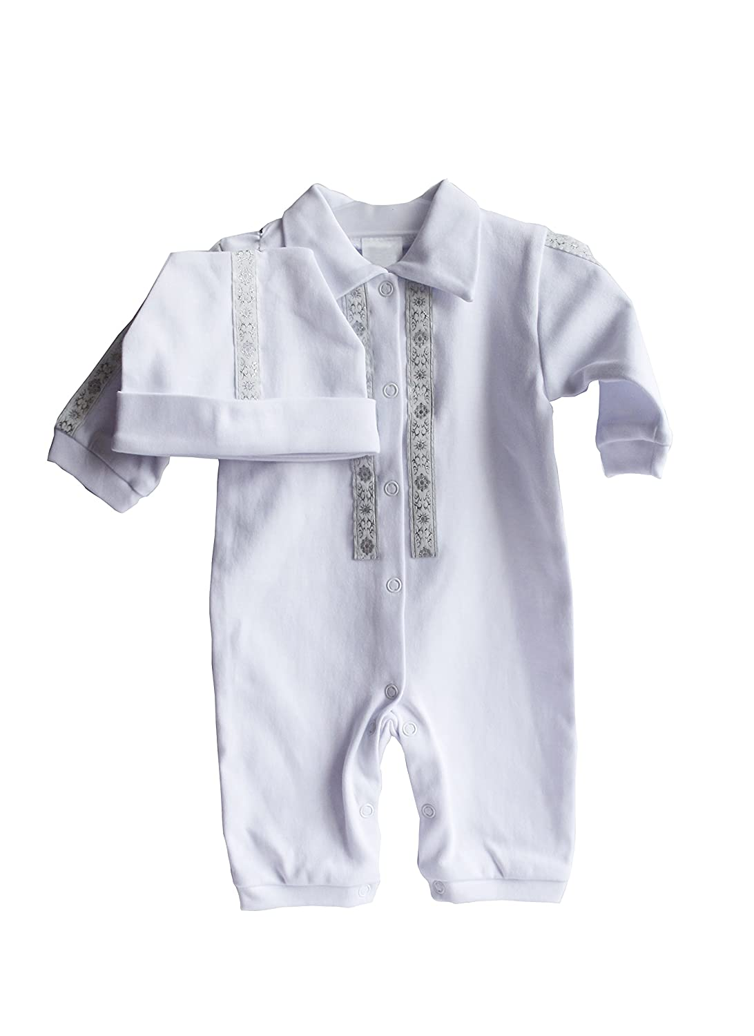 Christening Baby Romper Handmade Infant Toddler Outfit White Bodysuit 2PCS Suit Three Snails