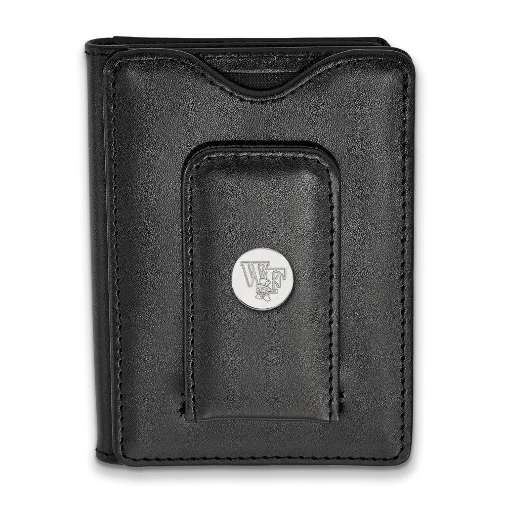 Jewel Tie 925 Sterling Silver Wake Forest University Black Leather Wallet