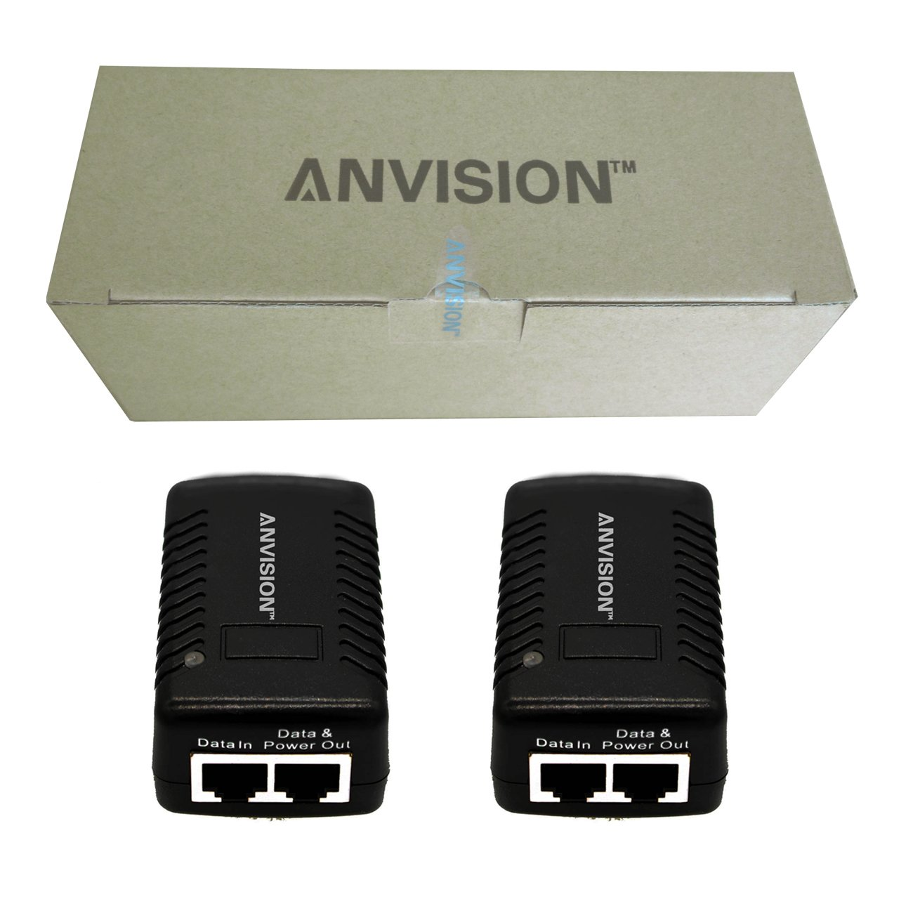 ANVISION 2-Pack 48V 0.5A Passive PoE Power Supply Injector Ethernet Adapter with Wall Plug IEEE 802.3af Compliant 10//100Mbps for IP Voip Phones Cameras AP and More