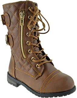 8eca9c0c60f Forever Link Mango Girls Boys Combat Buckle Zipper Lace Up Boots