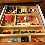 Bamboo Junk Drawer Organizer and 6 Storage Box Dividers Set,8 Compartment Organization Tray Holder for Craft,Sewing,Office,Ba