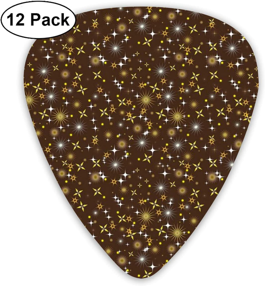 Guitar Picks12pcs Plectrum (0.46mm-0.96mm), Star With Different Shapes Celestial Elements Constellations Galaxy Universe,For Your Guitar or Ukulele