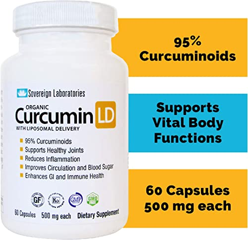 Liposomal Organic Curcumin – BioPerine Free to Prevent GI Issues – 500mg, 60 Veg Caps, Gluten Free, No Fillers – Supports Healthy Joints, Anti-Inflammatory – 95 Curcuminoids – 2 Month Supply