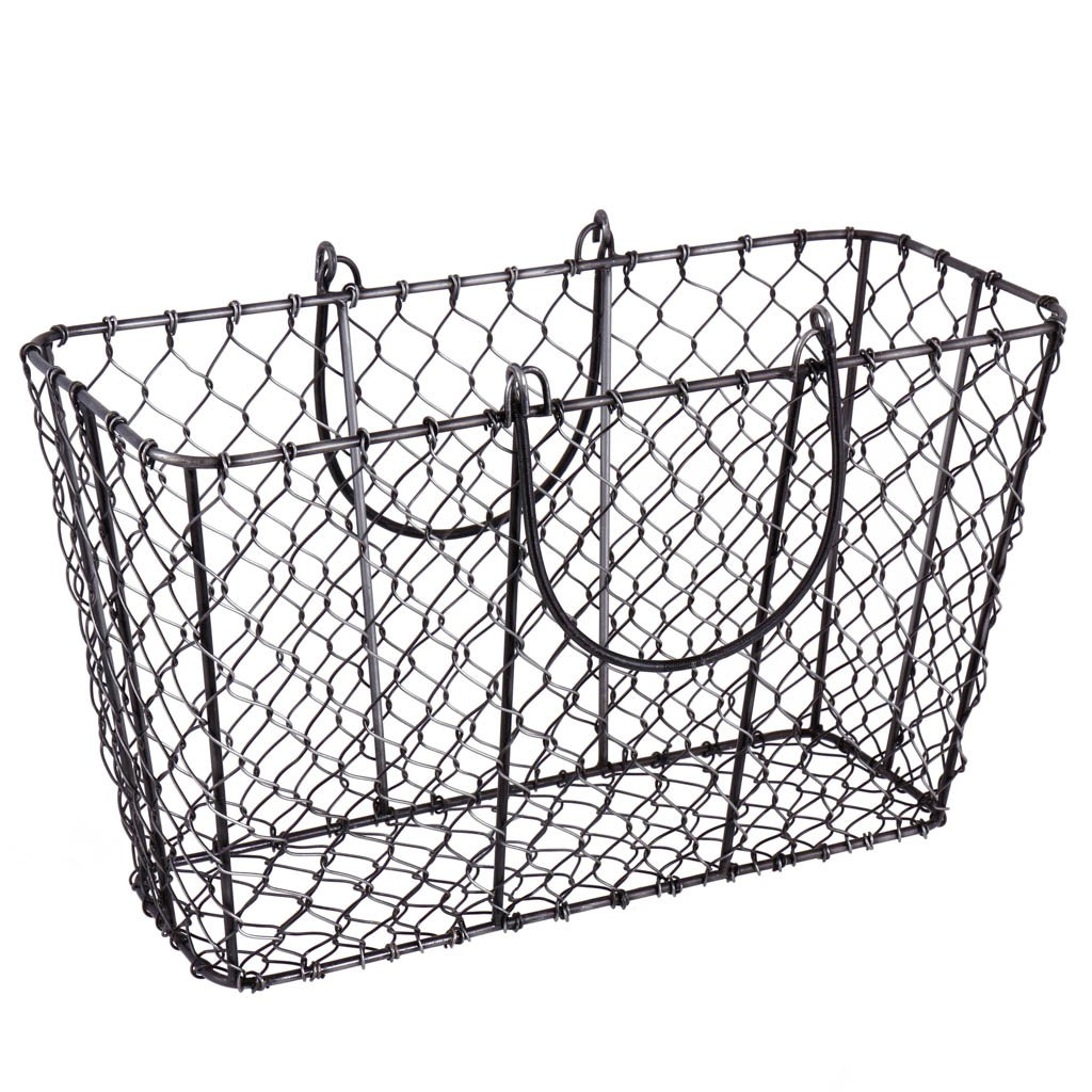 Industrial Style Black Magazine Newspaper Basket - Durable Hand Woven Storage Rack - Ideal Rustic Accessory for Shabby Chic/Modern Styled Homes - Unique Home Storage Ideal For Living Room, Kitchen and Bedroom! H21.5 x W31 x D14cm Dibor