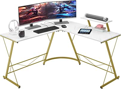 "Mr IRONSTONE L-Shaped Desk 50.8"" Computer Corner Desk, Home Gaming Desk, Office Writing Workstation with Large Monitor Stand, Space-Saving, Easy to Assemble(Laminate Marble)"