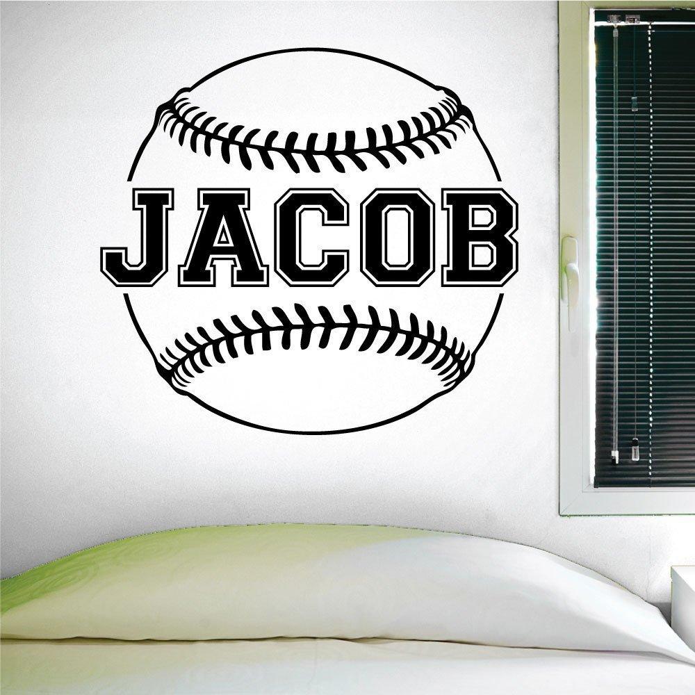 Custom Baseball Name Wall Decal Boys Baseball 0124 Girls Softball Personalized Baseball Name Wall Decal Custom Name