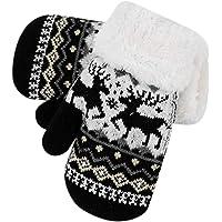 IBLUELOVER Guantes de invierno para niños con forro polar, guantes de punto elásticos, para niños y niñas