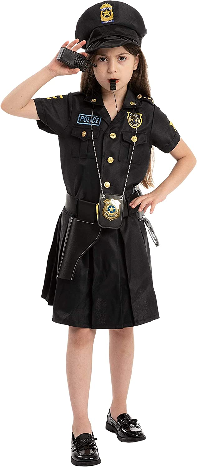 Police Officer Girl Cop Costume Outfit Set for Halloween Dress Up Party Carnival Cosplay Themed Parties Role-Playing