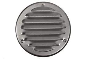 Vent Cover - Round Soffit Vent - Air Vent Louver - Grille Cover - Built-in Fly Screen Mesh - HVAC Ventilation (4'' Inch, Galvanized Steel)